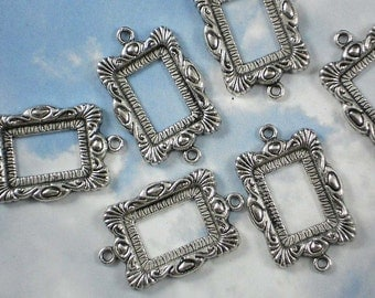 6  Antique Silver Picture Frame Link Charm Pendant with Loops - (P108)