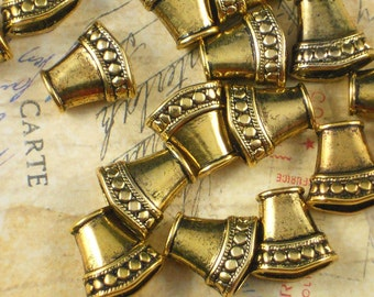 6 Flattened Necklace Cones Antiqued Gold Tone End Cap Beads Hill Tribes Style (P331)