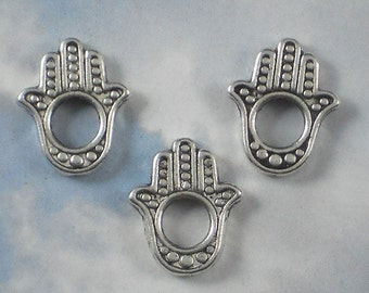 12 Hamsa Silver Tone Hand Beads Frames 16mm x 13mm 2 Sided Evil Eye Protection (P423)