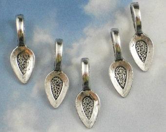 50 Teardrop Silver Spoon Glue On Pewter Bails - Make Fused Glass, Bottle Cap & Scrabble Tile Pendants (P616)