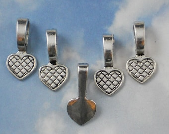 50 Glue On Bails Medium Silver Heart - Use On  Glass Tiles, Stones & more  (P389)