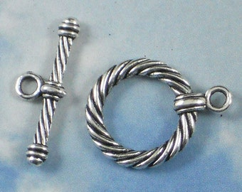BuLK 25 Toggle Clasps Rope Circle Antique Silver Tone Closures (P152 -25)