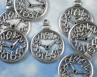 4 Pocket Watch Face Clock Charms Antique Silver Tone Pendants  (P438)