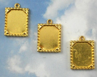 5 Gold Bezel Trays Picture Frame Charms Beaded Edge Pendants for Resin, Polymer Clay or More (P433)