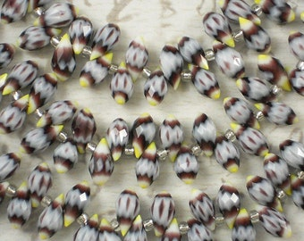 24 Teardrop Beads White, Amethyst & Yellow Chevron Crystal Faceted Top Drilled (C118)