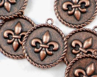 3 Copper Fleur de Lis Charms Medallions Rope Edge Antiqued Tone 24mm NOLA Pendants (P595)