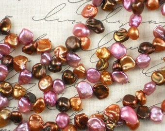 Keishi Lavender Copper & Cocoa Freshwater Pearls - 16 Inches (4001)
