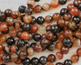 50 Hot Coffee Beads, Fire Agate, 8mm, Disco, Faceted Round, Banded Agate (5070)