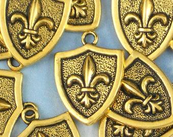 5 Antiqued Gold Fleur de Lis Shield Charm Pendants NOLA Ragin Cajuns Fluer (P717)