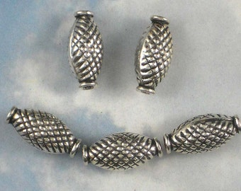 5 Bali Oval Beads STERLiNG Crosshatch Design Pinched .925 Silver (S101)