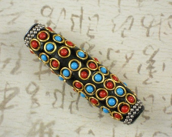 Large Black Bead with Coral and Turquoise Glass Dots Metal (5503)