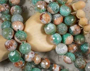 12 pcs Disco Agate Beads Peachy Carnelian Green & White Agate 16mm Faceted Round (5063)