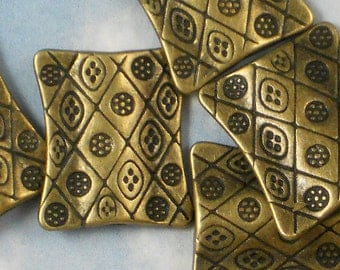 10 Antique Bronze Pinched Rectangle 21mm Flattened Pillow Hill Tribes Style Beads (P454)
