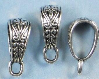 50 Celtic Heart & Leaf Pendant Bails with Loop Antique Silver (P732 -50)