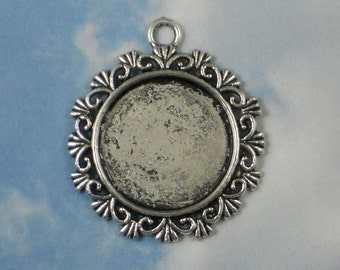4 Fancy Round Bezel Treasure Charm Pendants Antique Tibetan Silver Tone for Glass, Photo or Your Own Stone Cabochon  (P866)