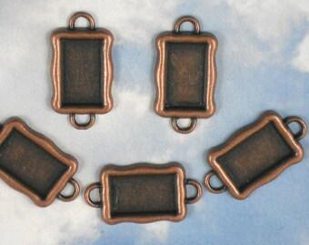 5 Link Settings Antique Copper Rectangle Raised Bezel Tray Blanks Connectors (P869)