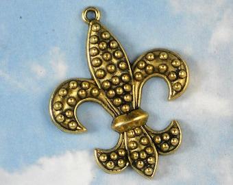 3 Fleur de Lis Gold Lys Charms Raised Dots Pendants NOLA tres French (P919)