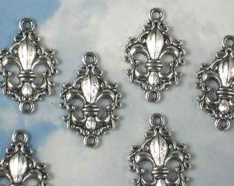 BuLK 50 Fleur de Lis Connectors Links Charms Silver Tone Scroll Edge(P766 -50)
