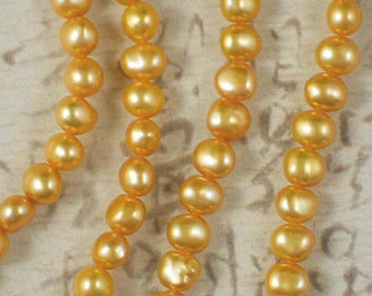Gold Baroque Potato 7mm Freshwater Pearls - FULL Strand (4169)
