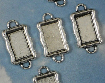 5 Bezel Trays Antique Silver Tone Rectangle Blanks Connector Link Settings (P950)