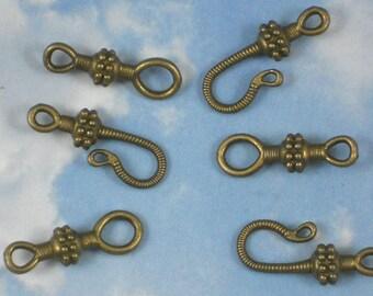 12 sets Bronze Hook & Eye Antiqued Closure 25mm Bali Style Clasps (P999)