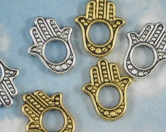 24 Hamsa Hand Frame Beads Combo Pack - 12 Silver plus 12 Gold (P266 -12 & P423 -12)