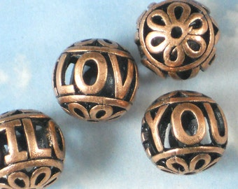 4 Beads I LOVE YOU 18mm Antiqued Copper Hollow Round (P706)