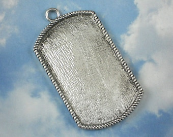 "1 Large Dog Tag 3"" Bezel Pendant Setting Silver Tone Frame Mounting - Embedded Beads Glass Mosaics Polymer Clay (P038)"