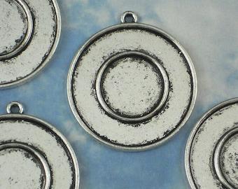 3 Round Bullseye Bezel Frame Pendant Mounting Tray Antique Silver Settings - Resin or Bead Mosaics (P073)