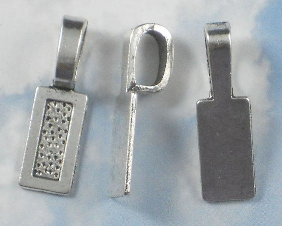 10 Large Rectangle Glue On Bail Antique Silver Tone - Use for Mixed Media, Stone, Clay (P386 -10)