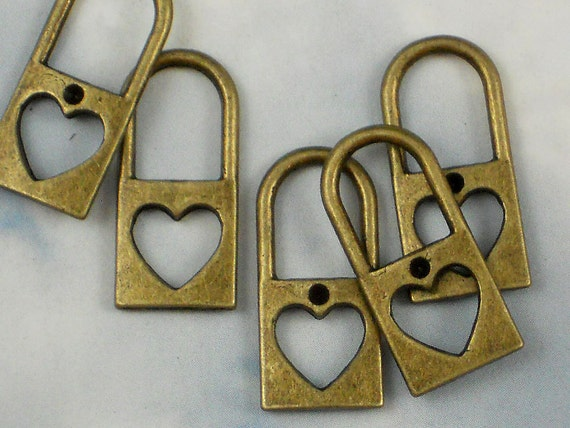 RESERVE For tshober - 30 Cutout Heart Diary Lock Charms Antiqued Bronze Pendants (P560 -30)