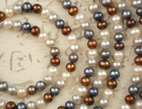 Classic COLORs - White, Copper and Silver Colorwave 6mm Freshwater Pearls - Full Strand (4038)