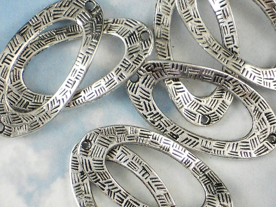 5 Large Connectors Links 36mm Twisted Long Oval Antique Tibetan Silver Tone 2 Sided  (P245)