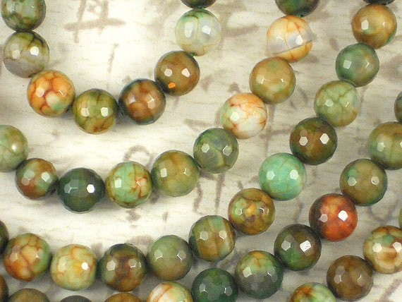 Autumn Leaves Agate 8mm Disco Ball Faceted Beads - Full Strand (5064)