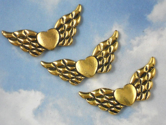 12 Angel Wings Heart Spacer Beads 22mm Antique Gold Tone 2 Sided (P418)
