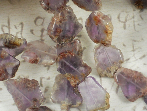 LAST 22 Unusual Ghost Amethyst Beads Natural Freeform Polished Sliced Gemstone (5153)
