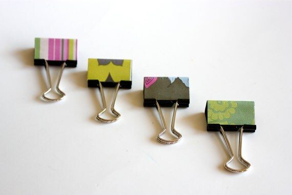 4 Pink and Green Flowers Organizer Binder Clips