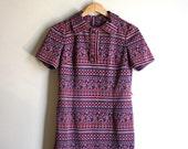 70s Collar Henley Mini Dress