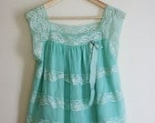 Seafoam 70s Lace and Sheer Babydoll with Bow