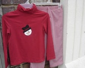 Frosty Turtleneck Tee with Red Gingham Trouser