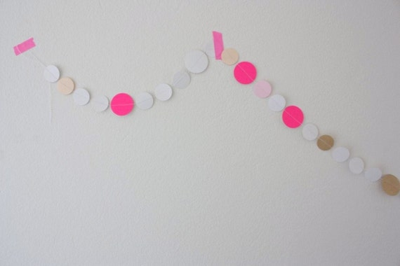 "Paper Garland - ""BPB"" - Neon Pink, White & Pale Pink"