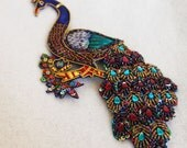 Large Exotic Beaded Peacock Applique
