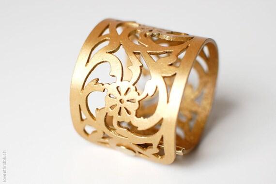"Leather Cuff Bracelet - ""Rose Lace"" Bracelet in GOLD - Reserved for Jen"