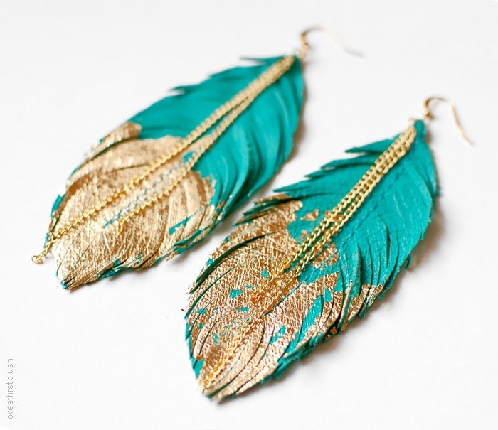 Feather Earrings Leather Feather Jewelry Dipped in Gold