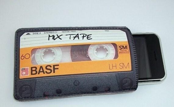 Retro Mix Cassette Tape Orange Gadget Case - iPhone iTouch Eris Hero Zune HD and more