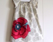 Top Selling Shift Tunic  / Grey Floating Buds / Pink Poppy Pocket / 6 Months, 12 Months, 2t, 3t, 4t, 5t, 6y by PerryFinalia