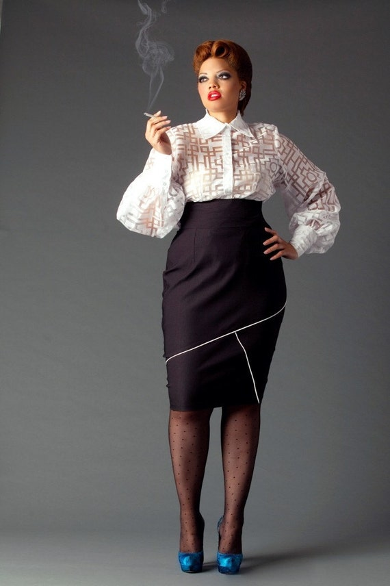 jibri plus size high waist pencil skirt w geometric by