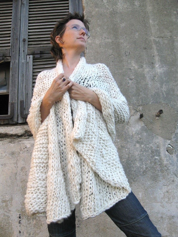 On Sale OOAK  Hand Knitted Cashmere Shawl Offwhite