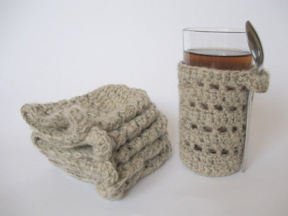 Knitting Pattern For Mug Holder : Items similar to KNITTED CUP HOLDERS on Etsy