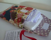SALE -- Japanese Floral Nappy and Wipes Bag